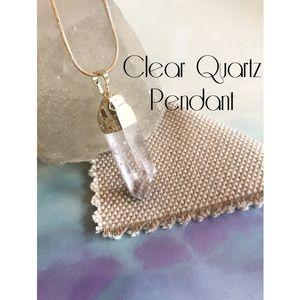 Jewelry - Clear Quartz Gold Tone Pendant